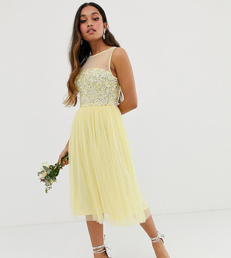 Maya Petite Bridesmaid mesh top delicate sequin midi dress in lemon
