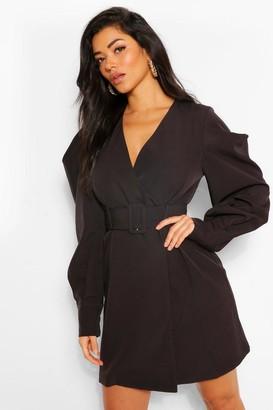boohoo Puff Sleeve Belted Blazer Dress