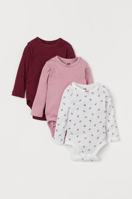 H&M 3-pack Long-sleeved Bodysuits - Red