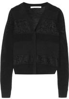 Diane von Furstenberg Adelyn Corded Lace-Paneled Ribbed And Open-Knit Merino Wool Cardigan