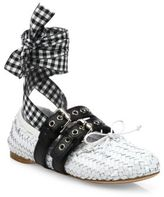 Miu Miu Double Strap Woven Leather Lace-Up Ballet Flats