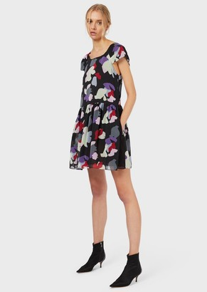 Emporio Armani Chiffon Dress With A Stylised Floral Print