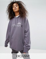 Ellesse Oversized Boyfriend Hoodie With Tonal Logo And Ribbon Tie Back