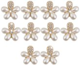Phenovo 10Pcs Flower Faux Pearl Rhinestone Buttons Fit Sewing & Scrapbooking