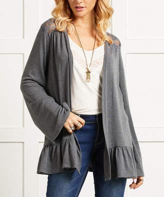 Suzanne Betro Women's Cardigans 101CHARCOAL - Charcoal Lace-Back Ruffle-Hem Open Cardigan - Women & Plus