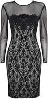 Black Mesh Sleeve Lace Shift Dress