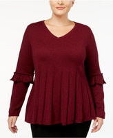 Style&Co. Style & Co Plus Size Ruffled-Sleeve Pleated Sweater, Created for Macy's