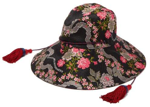 1b7c82e27904a Floral Jacquard Bucket Hat - Womens - Black