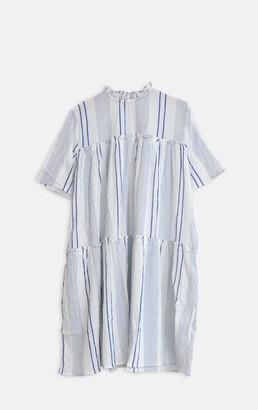 Dream Blue Striped Frill Dress - L