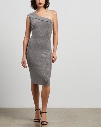 Reiss Lordes Metallic Knit One-Shoulder Dress