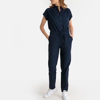 La Redoute Collections Cotton Short-Sleeved Boilersuit with Drawstring Waist