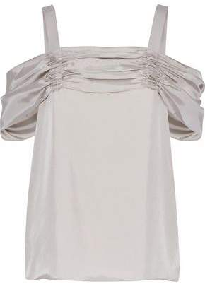 Tibi Cold-Shoulder Ruched Satin-Twill Top