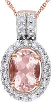 Asstd National Brand Pink Morganite & Diamond Oval Pendant Necklace