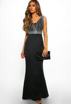 Pink Boutique Glam Goddess Black Satin Embellished Maxi Dress