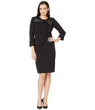 Tahari ASL Women's Pebble Crepe Skirt Suit with Bow Detail