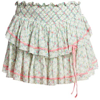 LoveShackFancy Neve Smocked Floral Ruffle Skirt