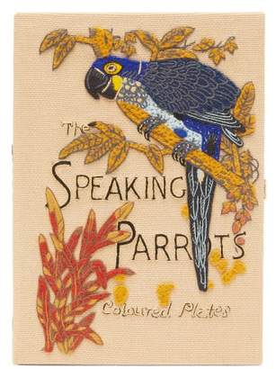 Olympia Le-Tan Olympia Le Tan The Speaking Parrots-embroidered Canvas Clutch - Womens - Beige Multi