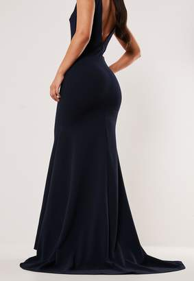 Missguided Bridesmaid Navy Sleeveless Low Back Maxi Dress