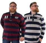 Big Mens Rugby Striped Polo Shirt Plus King Size Long Sleeve Top By Santa Monica