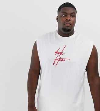 Asos Design DESIGN Plus co-ord oversized sleeveless t-shirt with dark future logo-White