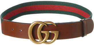 Gucci Gg Buckle Canvas & Leather Belt