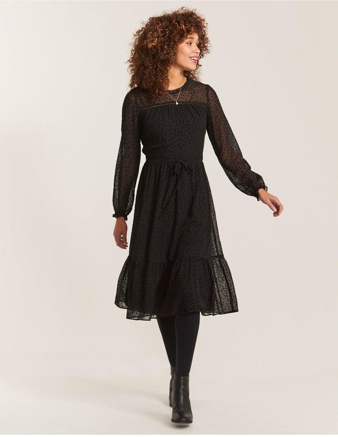 Fat Face Fatface Monica Spot Mesh Dress - Black