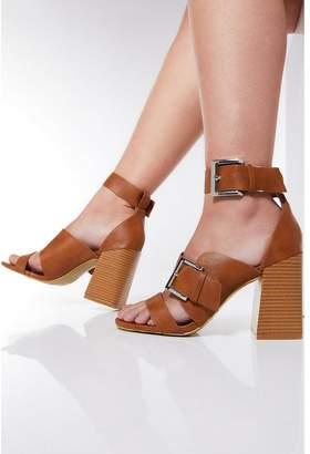 Quiz Tan Strap Buckle Heel Sandals