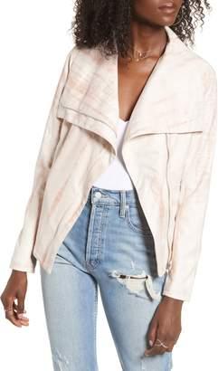 Blank NYC BLANKNYC Tie Dye Faux Suede Drape Front Jacket
