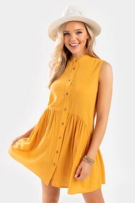 francesca's Nema Button Front Mini Shift Dress - Mustard