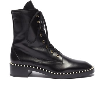 Stuart Weitzman 'Sondra' faux pearl leather combat boots