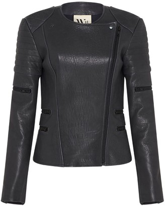 West 14th Greenwich Street Motor Jacket In Bubble Ink Leather