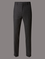 Autograph Wool Blend Flat Front Trousers With Buttonsafetm