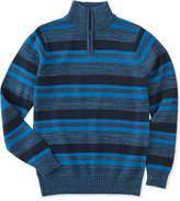 Calvin Klein Halt Stripe Half-Zip Cotton Sweater, Big Boys