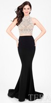 Terani Couture Two Piece Halter Embellished Illusion Back Prom Dress