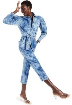 INC International Concepts Inc Tie-Waist Denim Jumpsuit, Created for Macy's