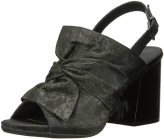 Kenneth Cole Reaction Women's Reach Beyond Peep Toe Dress Sandal with Twisted Bow Detail Flared Heel-Fabric Slide Pump