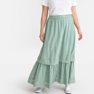 Castaluna Plus Size Tiered Boho Maxi Skirt