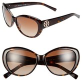 Women's Tory Burch 56Mm Cat Eye Sunglasses - Black