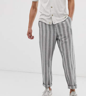 Asos Design DESIGN Tall relaxed trousers in grey linen mix stripe