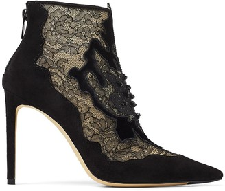 Jimmy Choo Lorre 100mm lace pointed boots