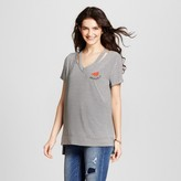 """Miss Chievous Women's Striped Cut Out """"One in a Melon"""" Embroidered T-Shirt Juniors') Black/White"""