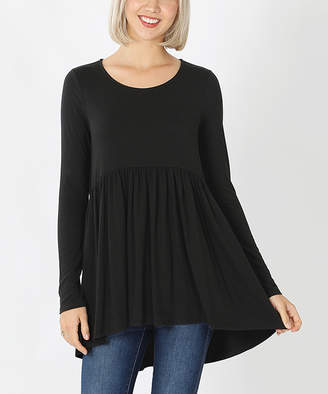 Lydiane Women's Tunics BLACK - Black Long-Sleeve Peplum Tunic - Women & Plus