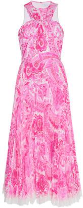 Andrew Gn Paisley-Print Plisse-Silk Halterneck Midi Dress
