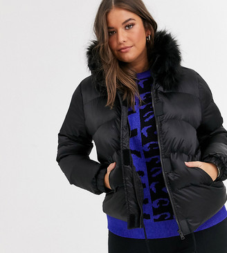 Koko short padded coat with faux fur trim