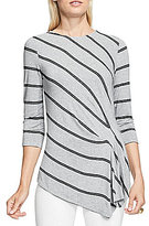 Vince Camuto Round Neck 3/4 Sleeve Stripe Duet Side Ruched Top