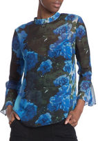 Tracy Reese Bell Sleeve Mock Neck Floral Silk Top