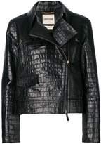 Roberto Cavalli crocodile effect biker jacket