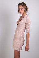 Nightcap Clothing Deep V-Victorian Dress in Nude