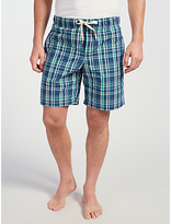 John Lewis Swanage Check Lounge Shorts, Blue/green