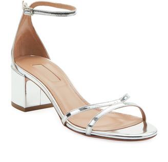 Aquazzura Purist Metallic Leather Block-Heel Sandals